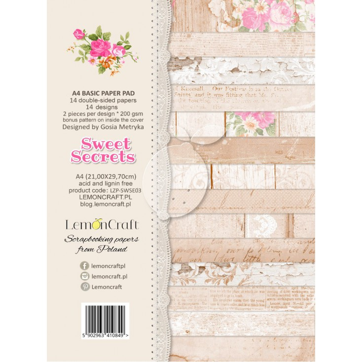 Stack of basic scrapbooking papers - Sweet Secrets A4