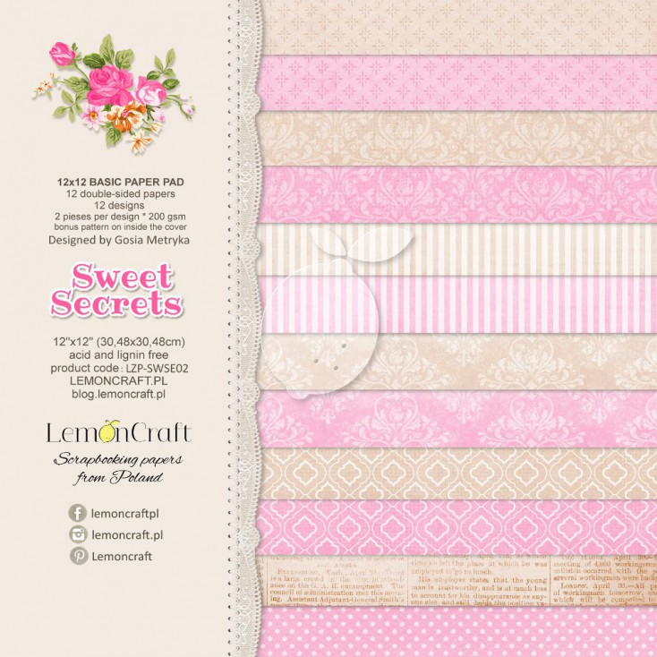 Stack of basic scrapbooking papers - Sweet Secrets