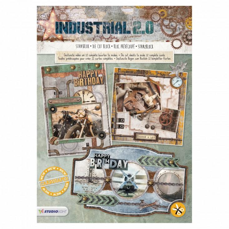 Blok papierów do tworzenia kartek i scrapbookingu - Studio Light - Industrial 2.0 - Die Cut Block