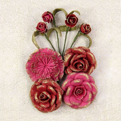 Paper flower set - Little Birdie - Victorian Melinda Passion.