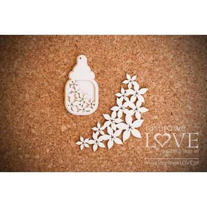 Tekturka Butelka Flower -LA 16070309-Laserowe LOVE
