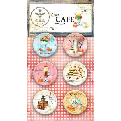 Buttons badges - Buttony badziki - 500251 - Our Cafe - Bee Shabby