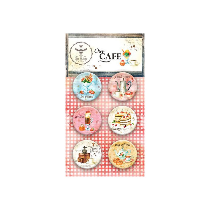 Selfadhesive buttons/badge - Bee Shabby - Our Cafe