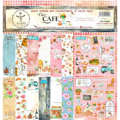Set of scrapbooking papers - Our Cafe - 500200 - Bee Shabby