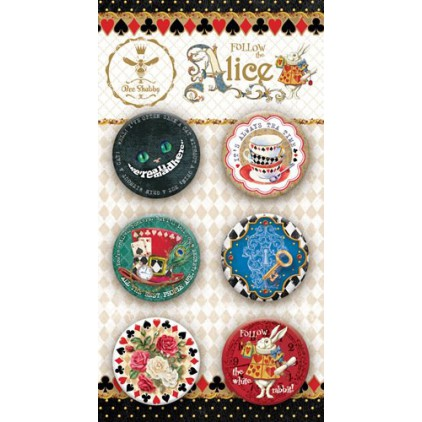 Selfadhesive buttons/badge - Bee Shabby - Follow the Alice