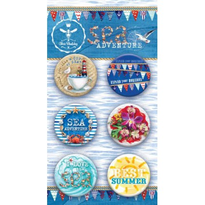 Selfadhesive buttons/badge - Bee Shabby - SEA adventure