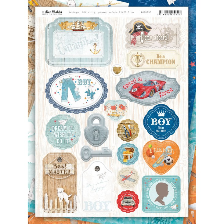 Set of chipboards - Bee Shabby - Boy Story