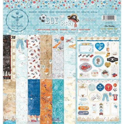 Set of papers 30 x 30 cm - Boy Story - 640220 - Bee Shabby