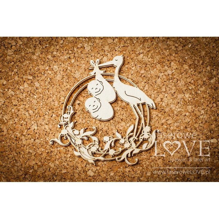 Laser LOVE - cardboard ornament Round frame with Lily of the Valley and a stork carrying twins - Emma & Billy