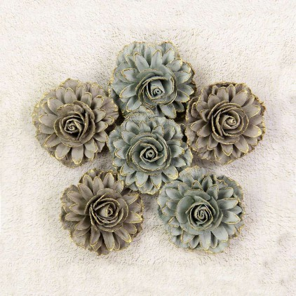 Paper flower set - Little Birdie - Victorian Charon Sage - 6 flowers.