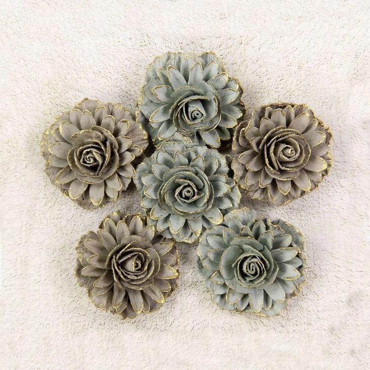Papierowe kwiaty do rękodzieła - Little Birdie - Victorian Charon Sage - 6 kwiatków