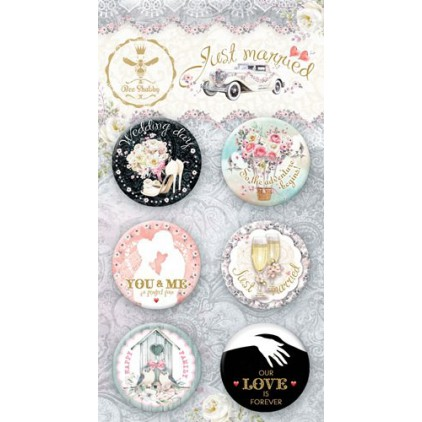 Buttons badge - 500350 - Just Married - Bee Shabby