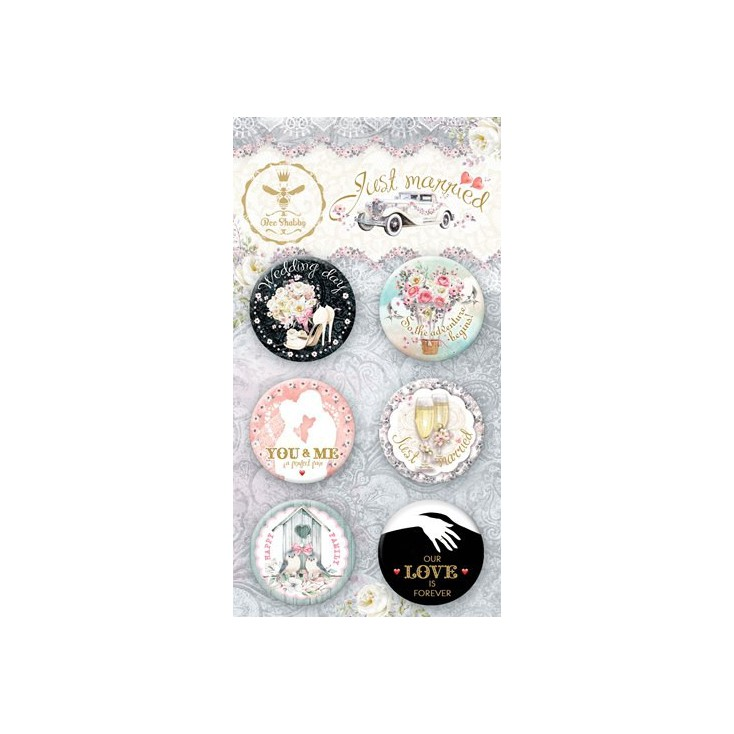 Selfadhesive buttons/badge - Bee Shabby - Just Married
