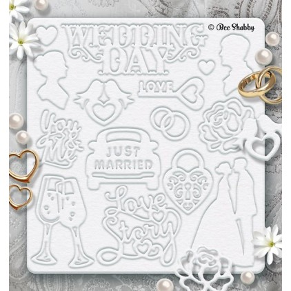 Bee Shabby - Chipboard set - Just Married