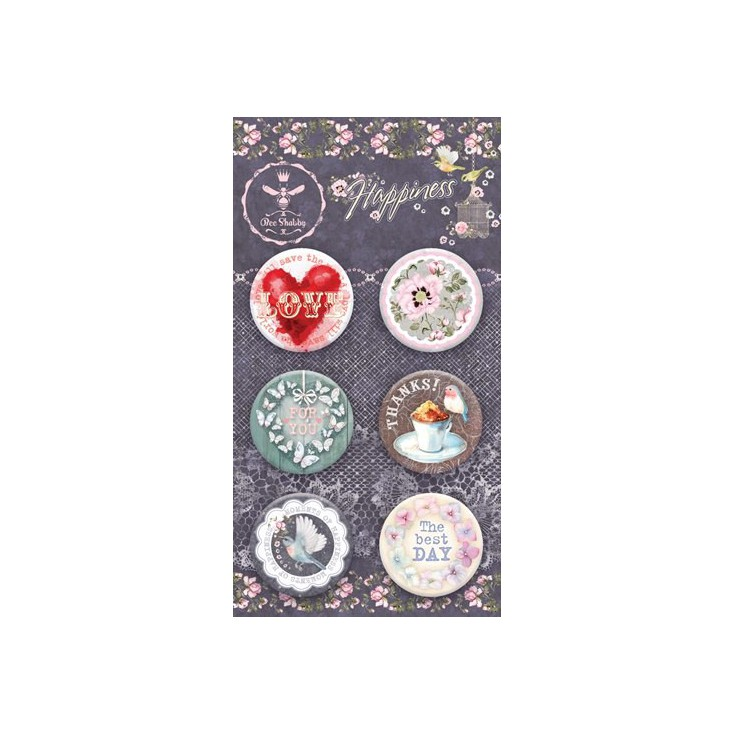 Selfadhesive buttons/badge - Bee Shabby - Happiness