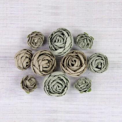 Papierowe kwiaty do rękodzieła - Little Birdie - English Roses Sage - 10 kwiatków