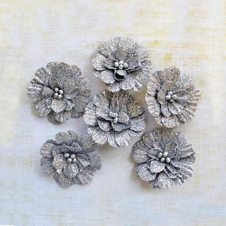Papierowe kwiaty do rękodzieła - Little Birdie - Sparkle Annika Silver - 6 kwiatków