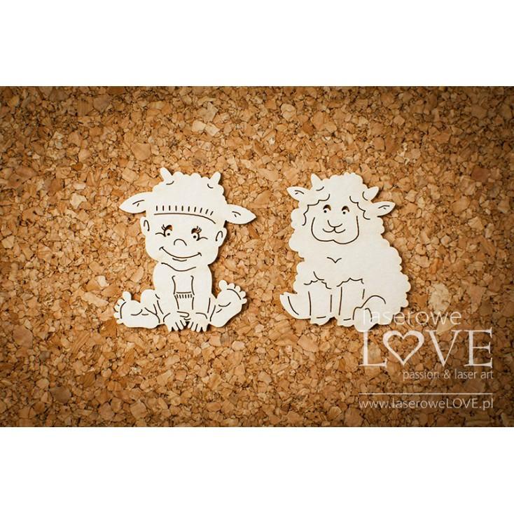 Laser LOVE - cardboard Boy with a lamb - Emma & Billy