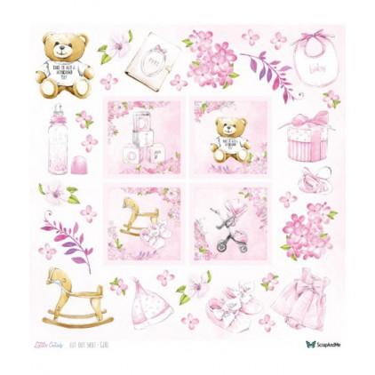 Papier do tworzenia kartek i scrapbookingu - ScrapAndMe - Little Cuti-s - elementy do samodzielnego wycięcia dziewczynka