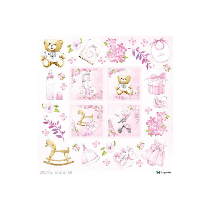 Set of scrapbooking papers - ScrapAndMe - Little Cuties - elements for self-cutting- girl