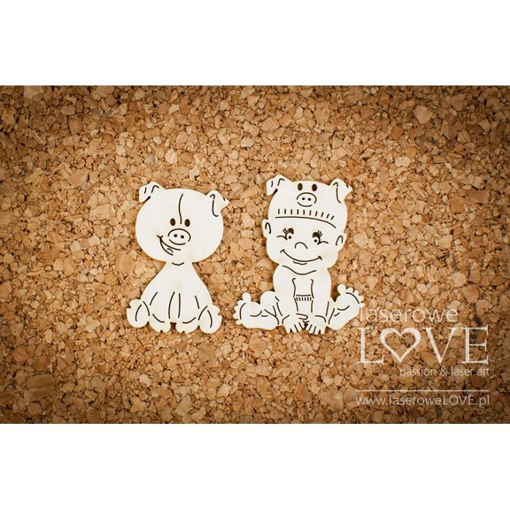 Laserowe LOVE - tekturka Chłopczyk ze świnką - Emma & Billy