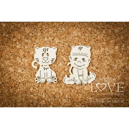 Laserowe LOVE - tekturka Chłopczyk z kotkiem - Emma & Billy