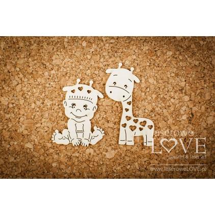 Cardboard Baby boy with a giraffe - Emma & Billy- LA 171155- Laserowe LOVE