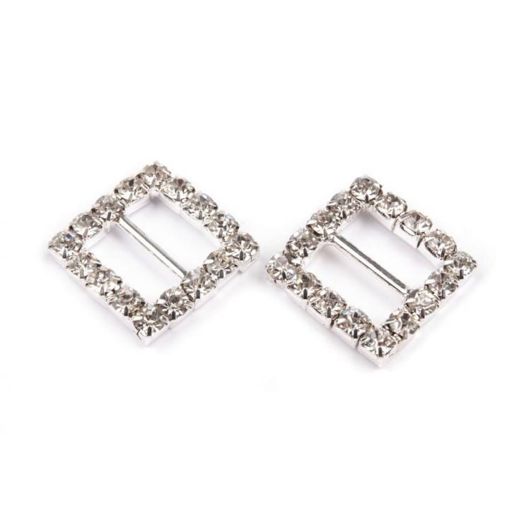 Decorative clip with cubic zirconia - silver
