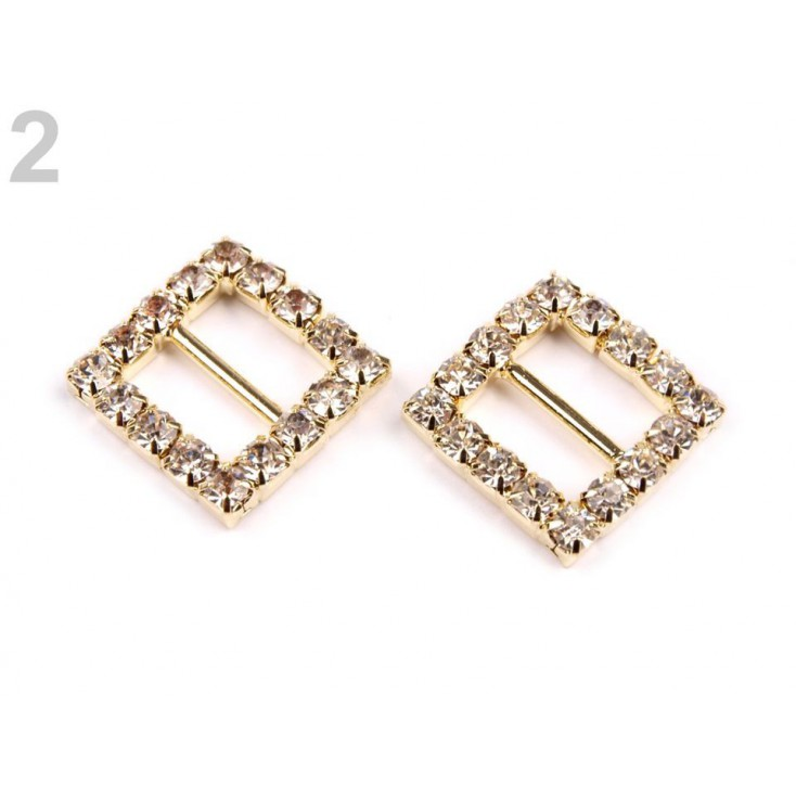 Decorative clip with cubic zirconia - gold 02