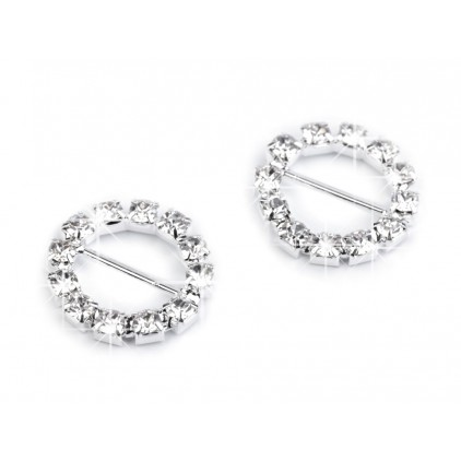 Decorative clip with cubic zirconia - silver 03