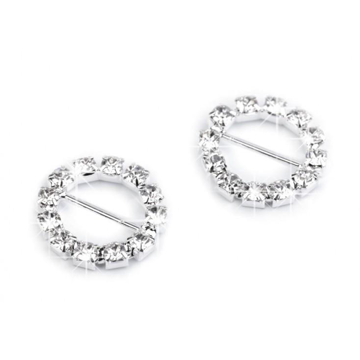 Decorative clip with cubic zirconia - silver 03