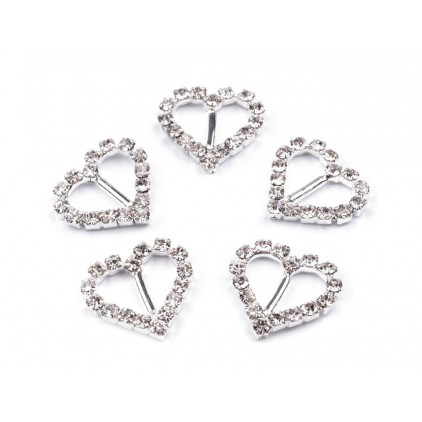 Decorative clip with cubic zirconia - silver 04