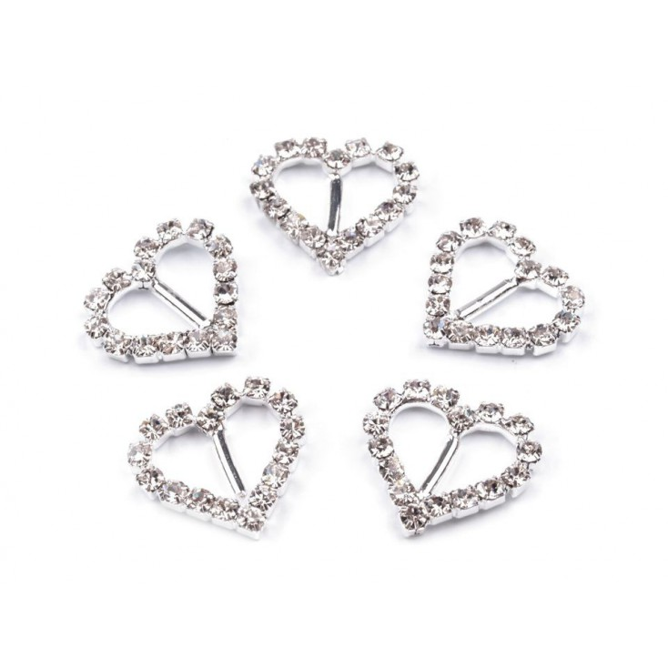 Decorative clip with cubic zirconia - silver 04