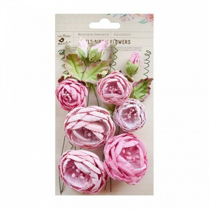 Paper flower set - Little Birdie - Natasha Pearl Pink- 15 elements