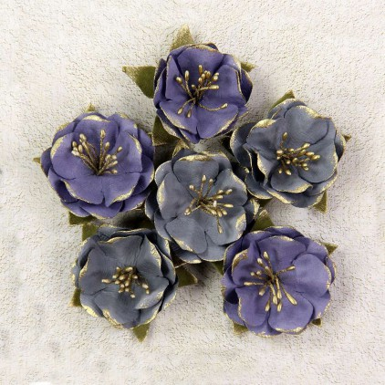 Papierowe kwiaty szare i fioletowe - Little Birdie -Victorian Caerus Tuscan - 6 kwiatków