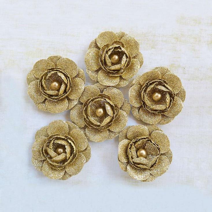 Paper flower set - Little Birdie - Sparkle Seona Gold- 6 flowers.