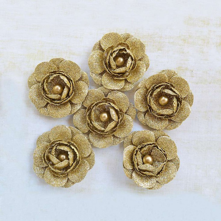 Papierowe kwiaty do rękodzieła - Little Birdie -Sparkle Seona Gold - 6 kwiatków