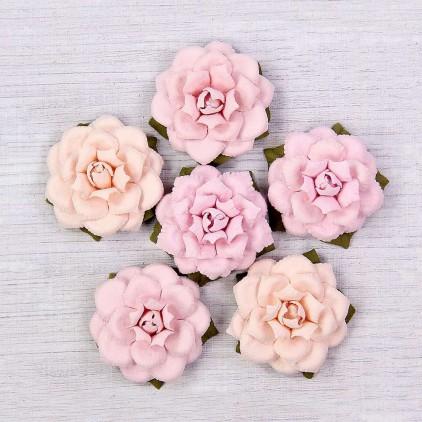Papierowe kwiaty do rękodzieła - Little Birdie - Carol Blush - 6 kwiatków