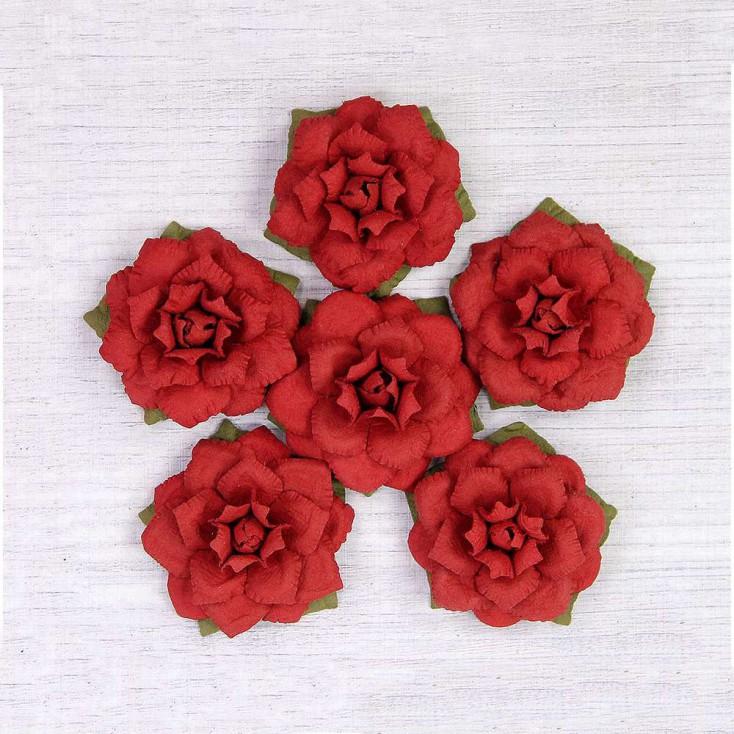 Paper flower set - Little Birdie - Carol Cherry - 6 flowers