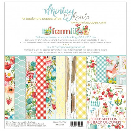 Scrapbooking paper set - Mintay Papers - Farmlife