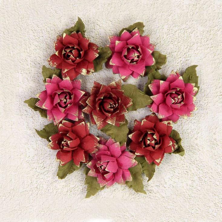 Papierowe kwiaty do rękodzieła - Little Birdie - Victorian Hattie Passion- 8 kwiatków