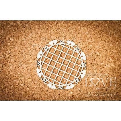 Laser LOVE - cardboard Round frame Paroles with hearts mesh