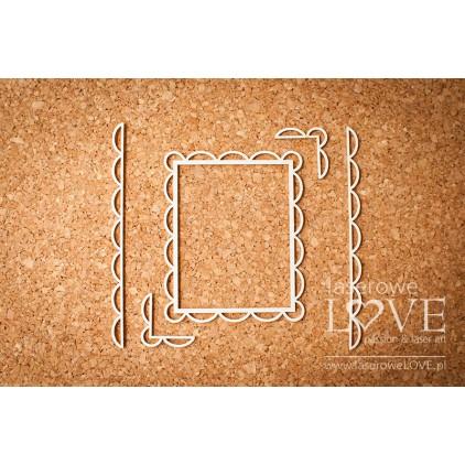 Laser LOVE - cardboard Rectangular frame oval edges