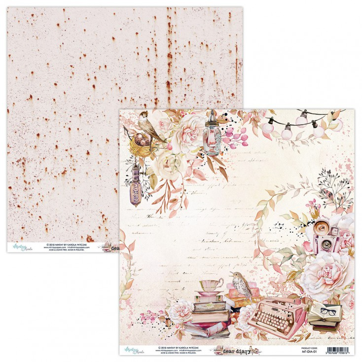 Papier do scrapbookingu - Mintay Papers - Dear Diary 01