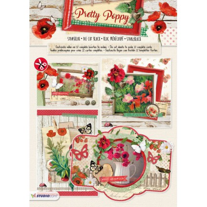 Studio Light - Pretty Poppy - 3D Die-cut Block - For making 12 Cards