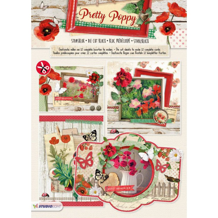 Blok papierów do tworzenia kartek i scrapbookingu - Studio Light - Pretty Poppy