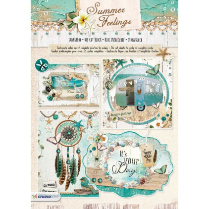 Scrapbooking paper pad - Studio Light - Summer Feelings - Die Cut Block