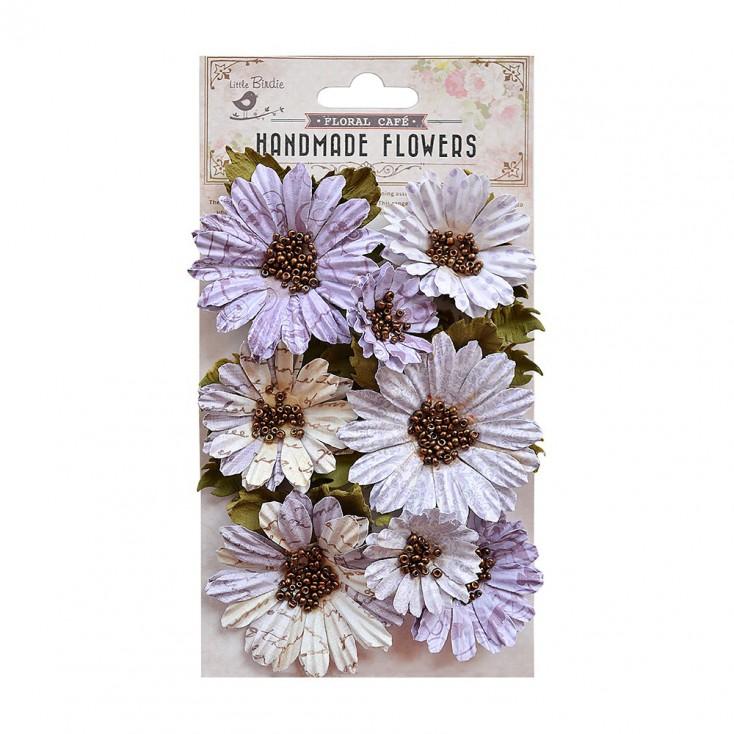 Paper flower set - Little Birdie - Fancy Daisies Purple - 11 elements.