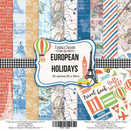 Zestaw papierów do tworzenia kartek i scrapbookingu 20x20 - Fabrika Decoru - Europejskie wakacje