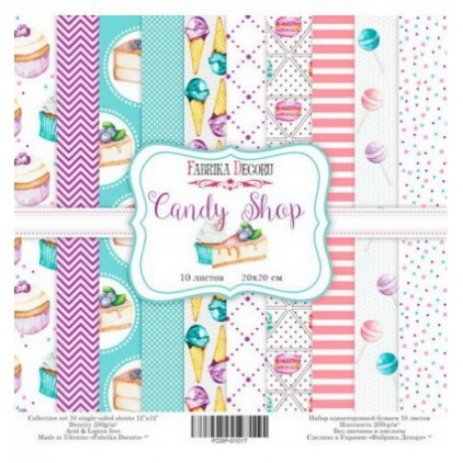 Set of scrapbooking papers 20x20- Fabrika Decoru - Candy Shop